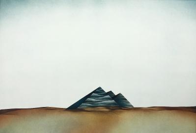 Landschaft mit Pyramiden-Zeichen, 1975