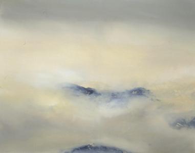 Gelbe Berglandschaft im Nebel, 1997