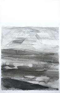 Transparentes Bauwerk in einer geordneten Landschaft, 1976